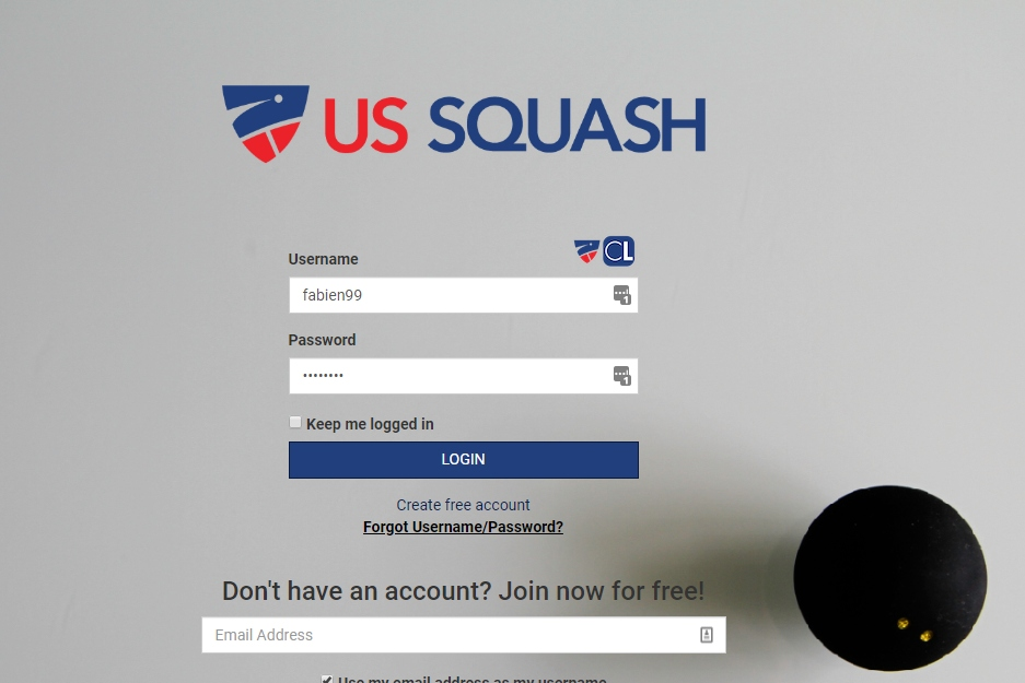 How to register to Orlando Squash Ladder by registering on Club Locker